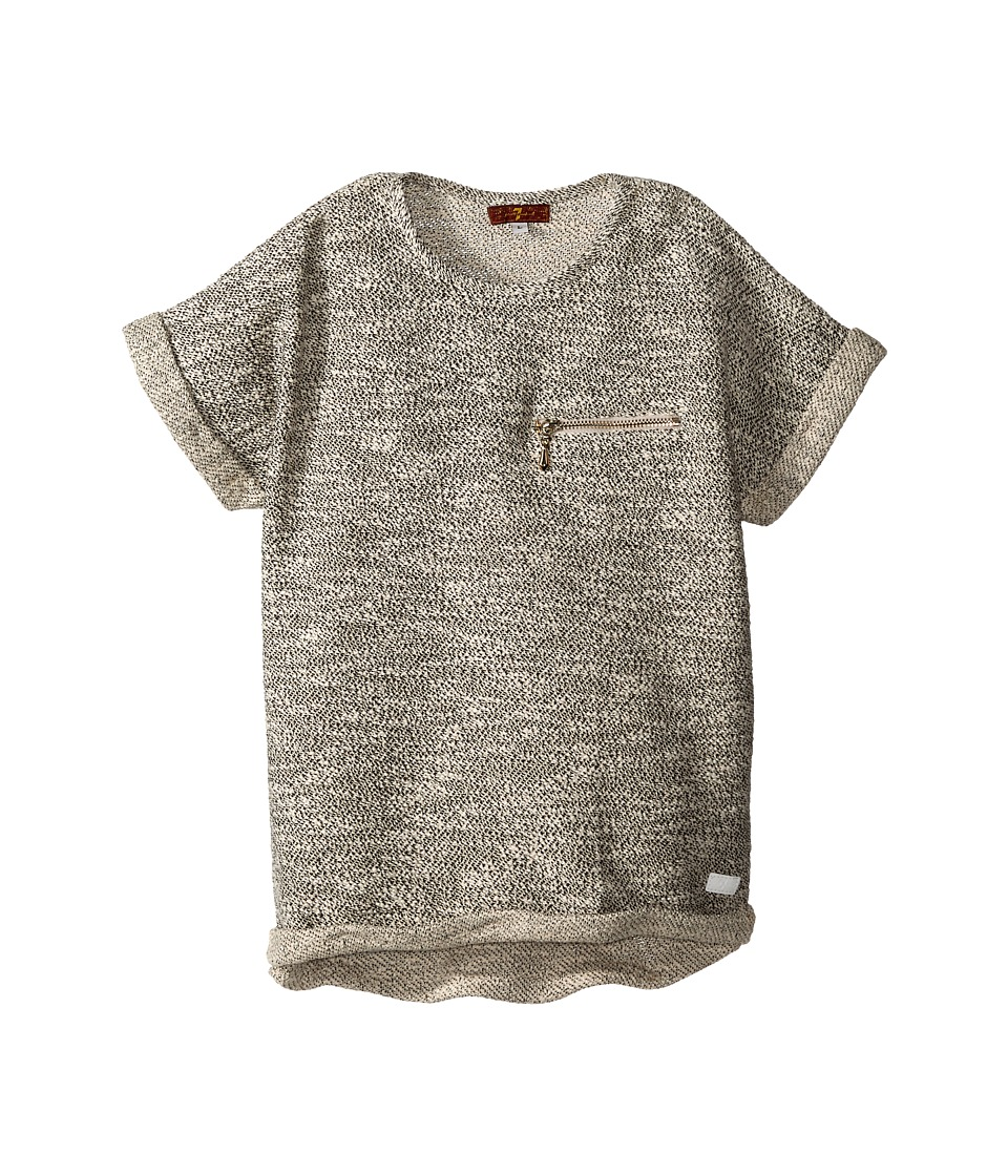 7 For All Mankind Kids - Short Sleeve Marled Boxy Cropped Sweater with Zipper (Big Kids) (Oatmeal) Girl