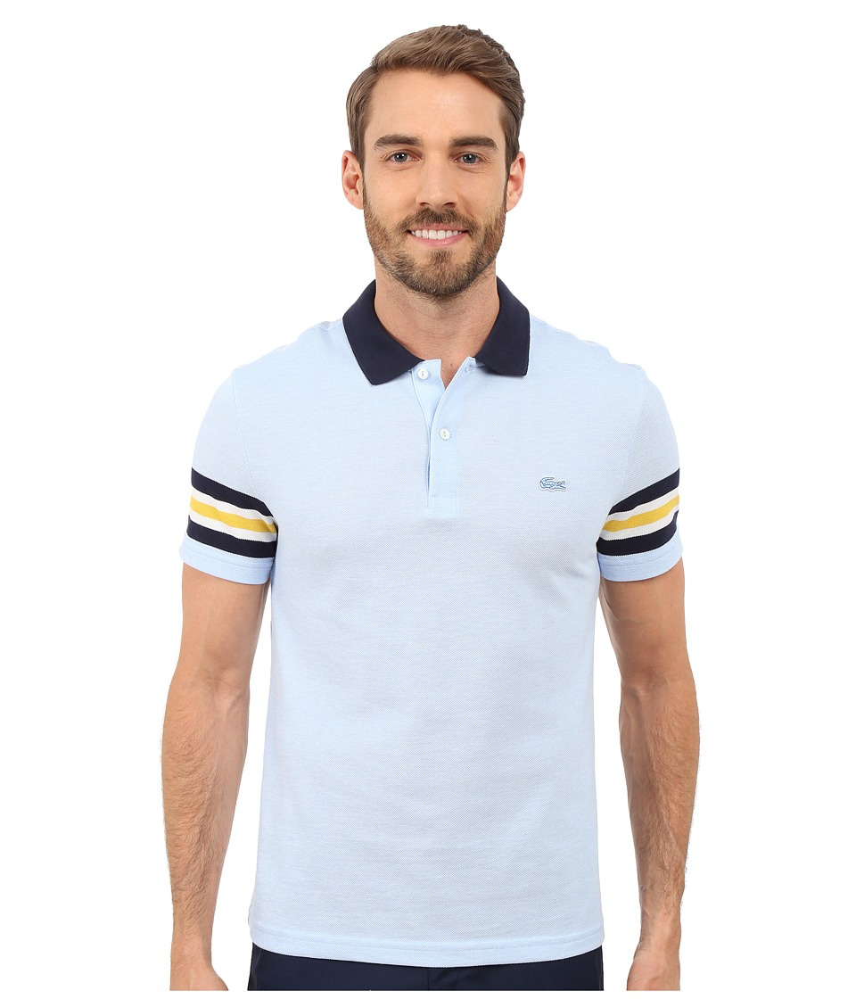 Lacoste - Caviar Piqu Polo Shirt (Nattier Blue 07E/White/Navy Blue/Wasp) Men's Short Sleeve Knit