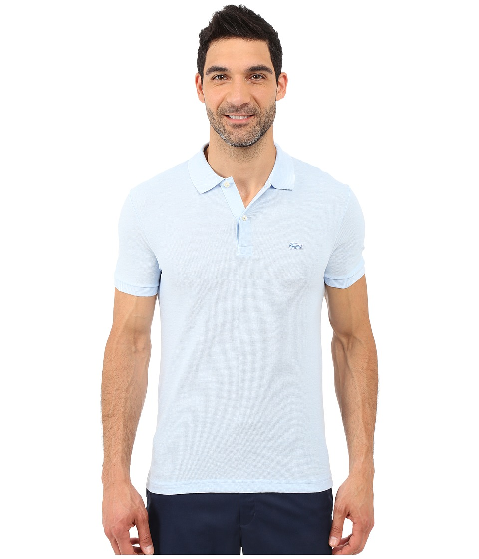 Lacoste - Caviar Piqu Polo Shirt (Nattier Blue 07E/Flour) Men's Short Sleeve Pullover