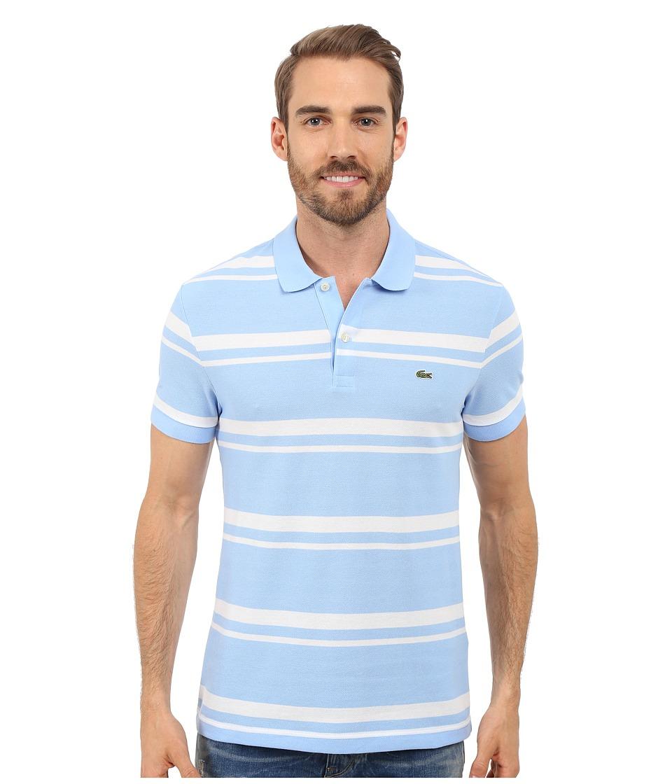 Lacoste - Short Sleeve Bold Striped Pique Polo (Nattier Blue 07E/White) Men's Clothing