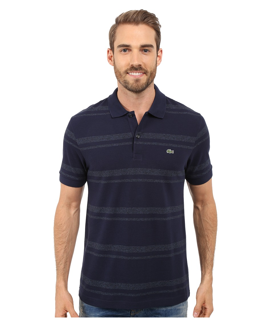Lacoste - Short Sleeve Bold Striped Pique Polo (Navy Blue/Dark Indigo Blue) Men's Clothing