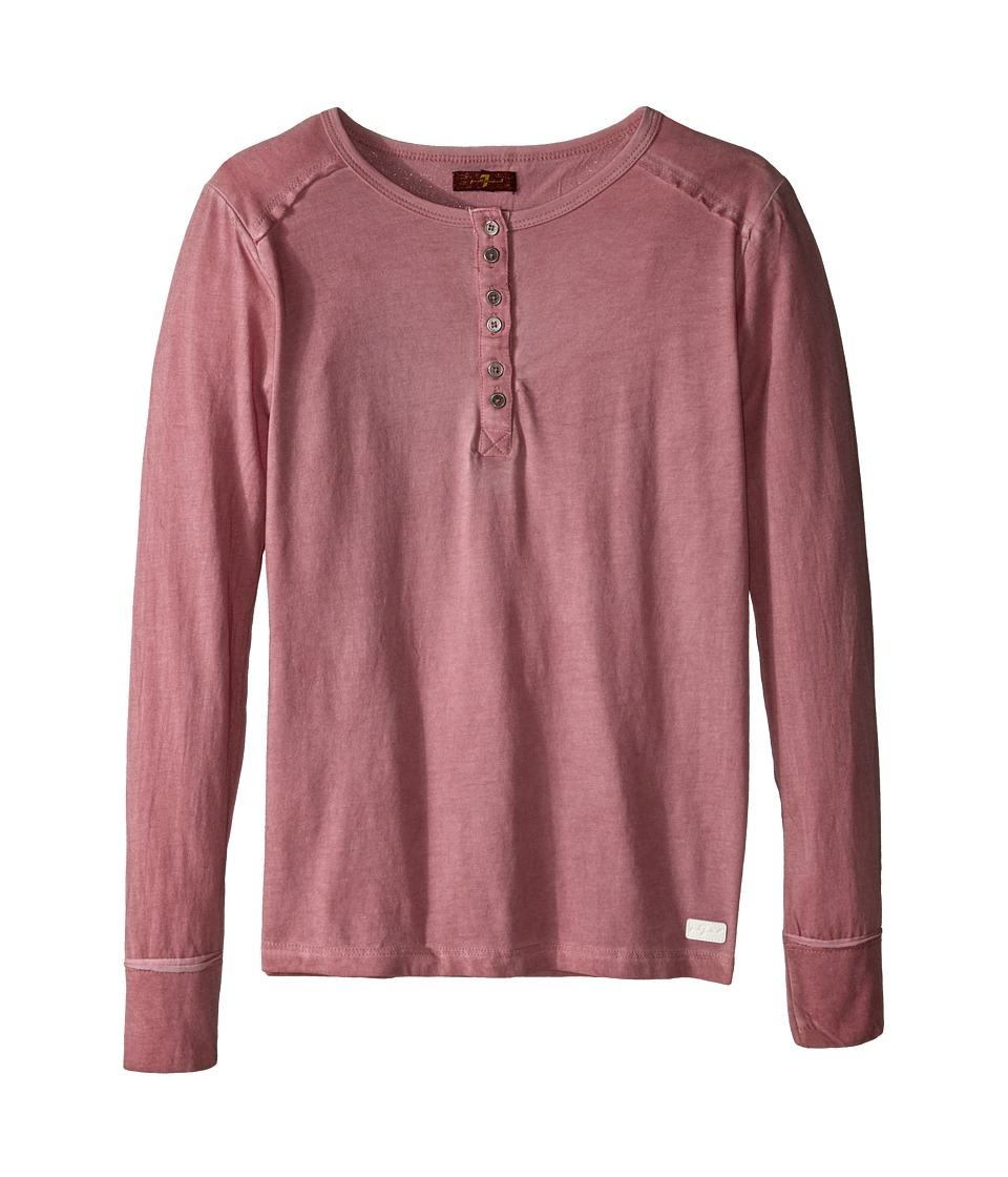 7 For All Mankind Kids - Long Sleeve Mineral Wash Slub Jersey Henley (Big Kids) (Coral Blush) Girl's Long Sleeve Pullover