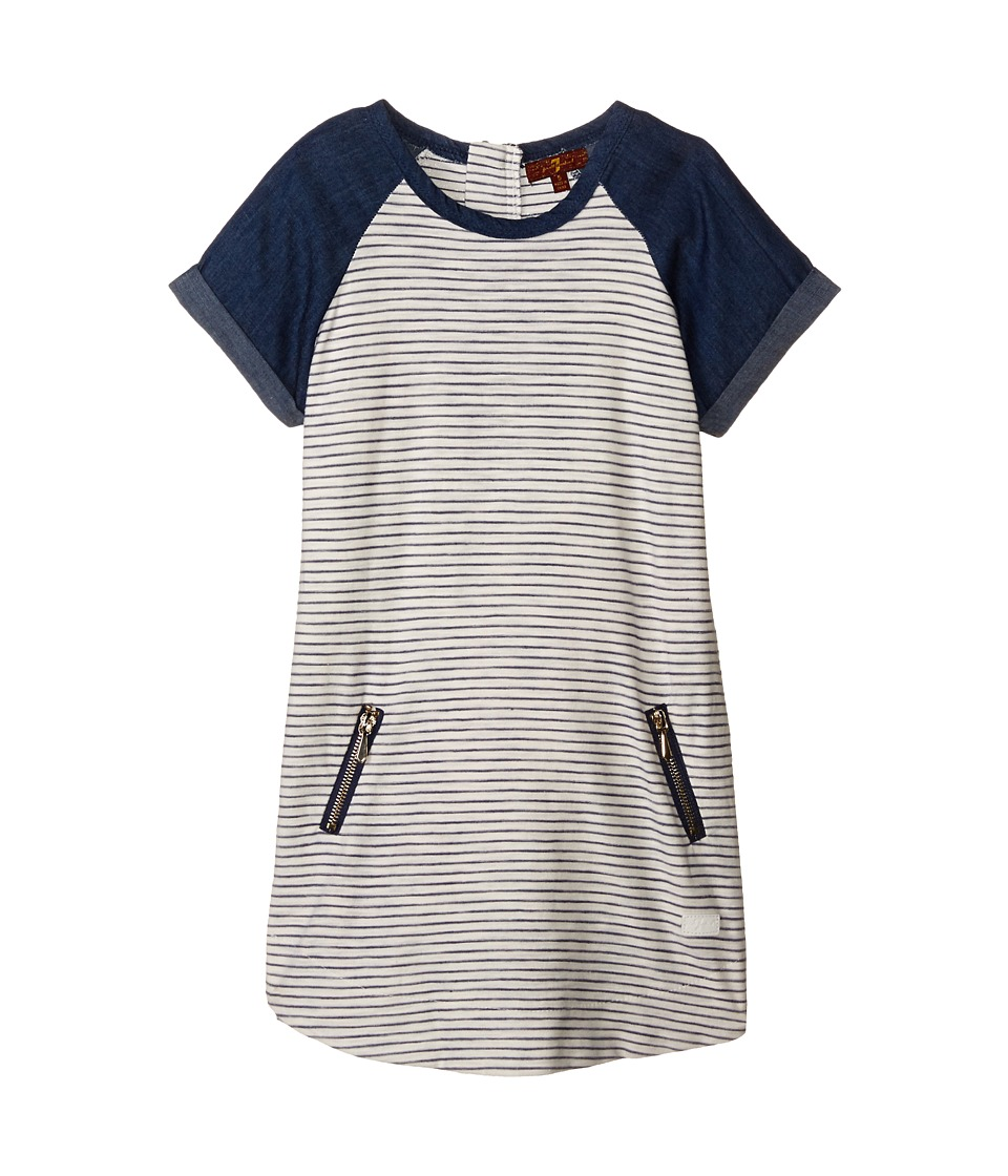 7 For All Mankind Kids - Reverse Jersey Rolled Cap Sleeve Striped Zipper Dress (Little Kids) (Crown Blue) Girl