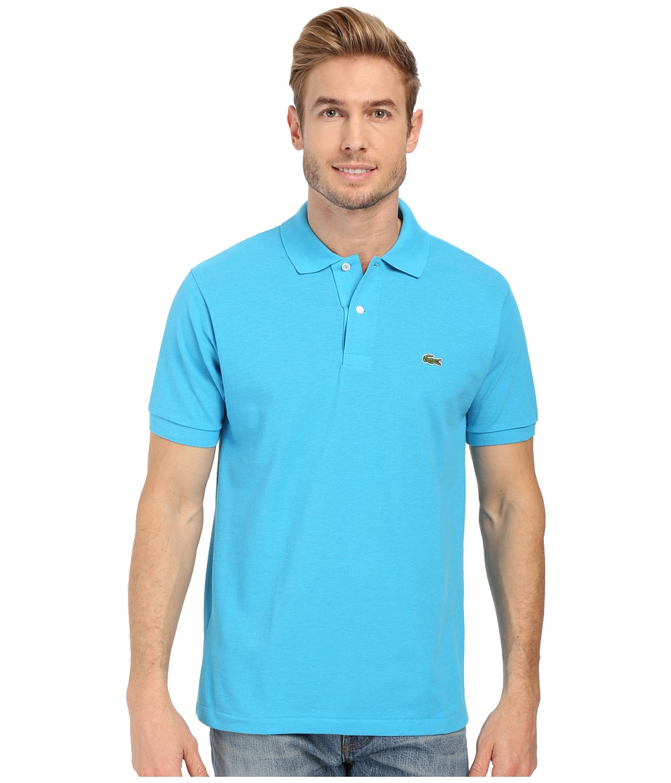 Lacoste - Short Sleeve Original Heathered Pique Polo (Fidji Blue Chine) Men
