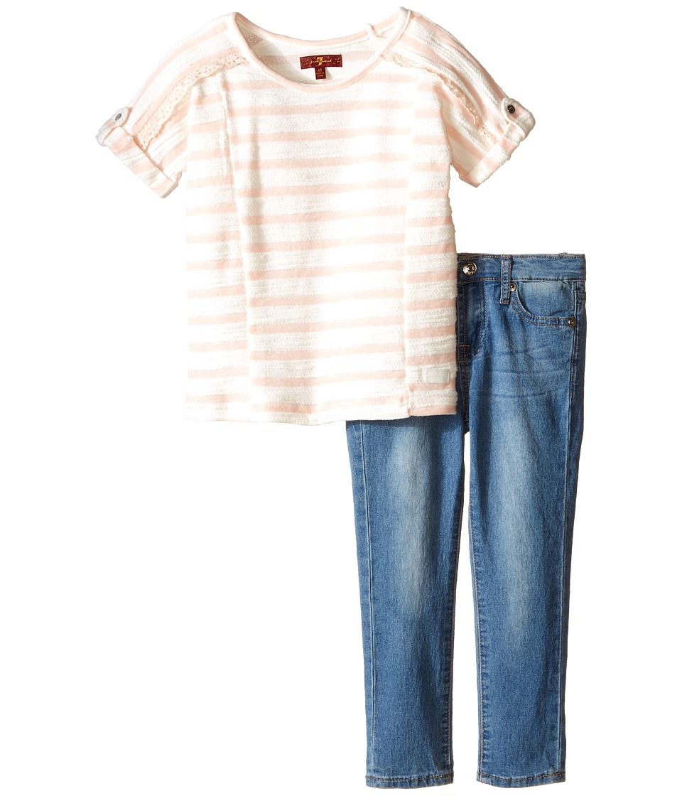 7 For All Mankind Kids - The Skinny Five-Pocket Denim Jeans and Reverse French Terry Rolled Cap Sleeve Striped Top (Toddler) (Wild Rose) Girl's Active Sets