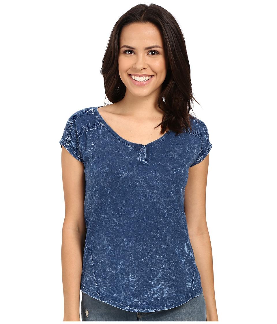Mavi Jeans - Cap Sleeve Henley (Indigo) Women's Short Sleeve Pullover
