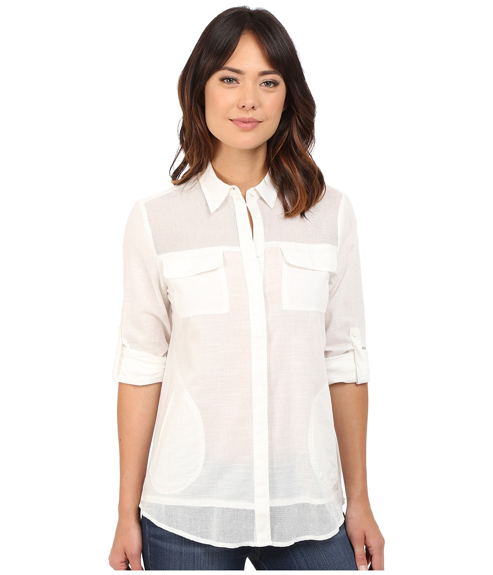Mavi Jeans - Flolded Sleeve Shirt (Antique White) Women's Clothing