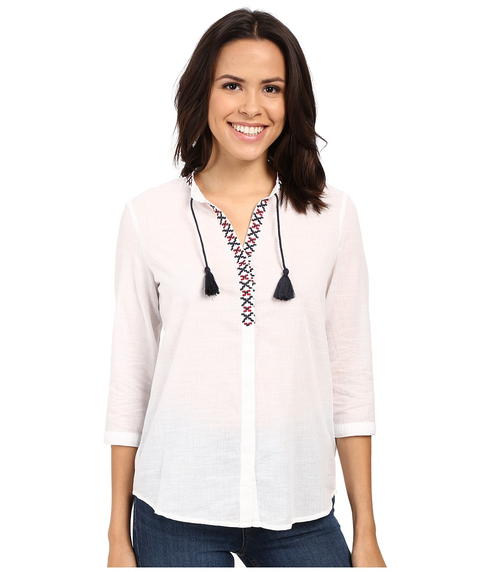 Mavi Jeans - 3/4 Sleeve Embroidered Tassle Top (White) Women's Blouse
