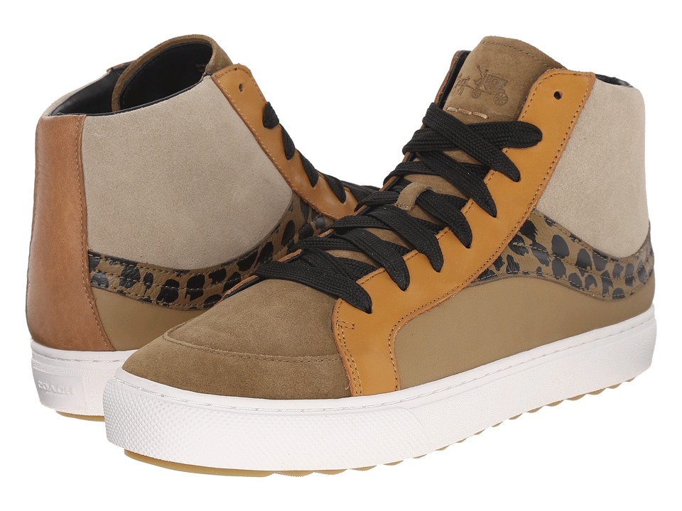 COACH - Leather C202 (Multi/Orange Tiger Fine Suede/Soft Grain) Men's Lace up casual Shoes