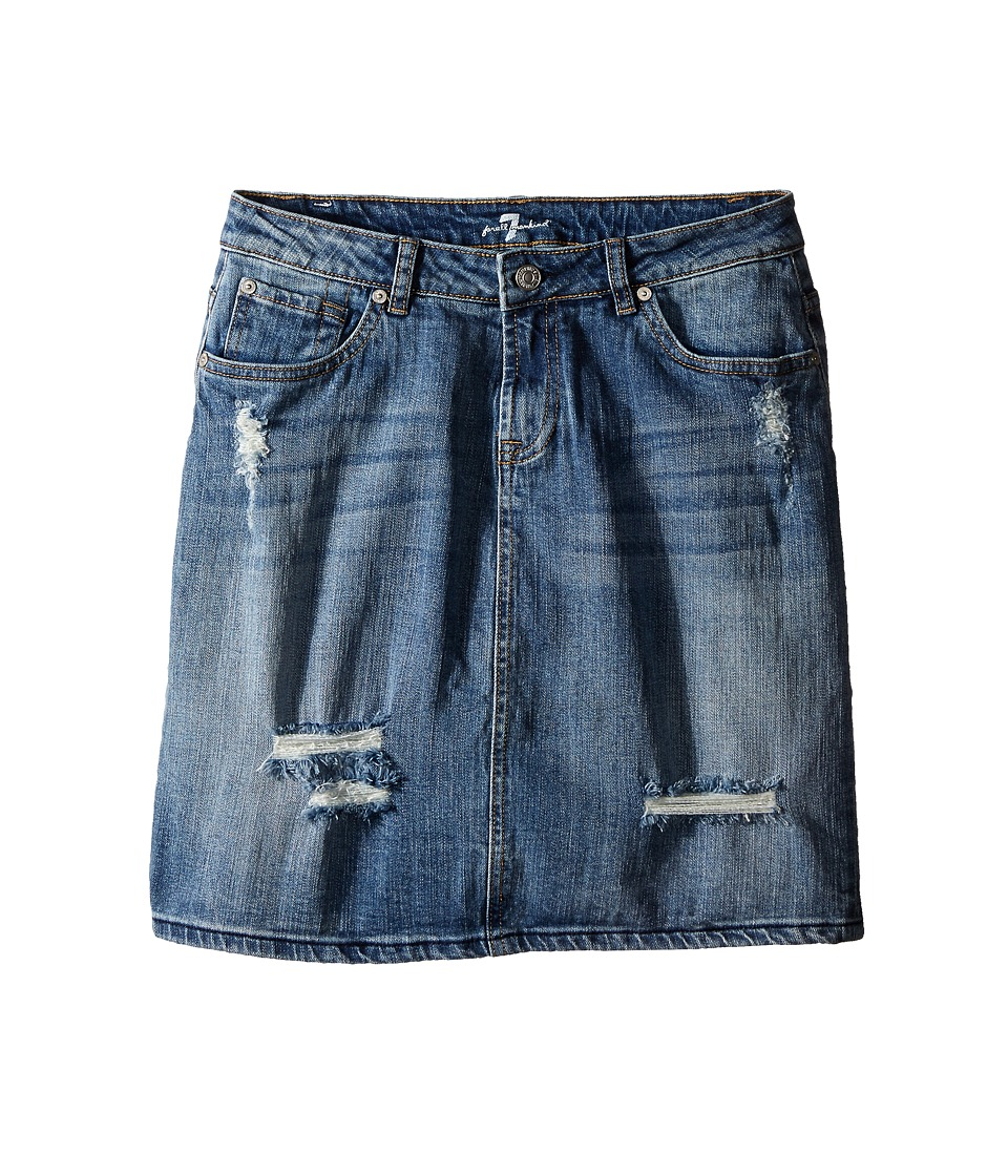 7 For All Mankind Kids - Five-Pocket High Waisted Denim Skirt in Swiss Alps (Big Kids) (Swiss Alps) Girl's Skirt