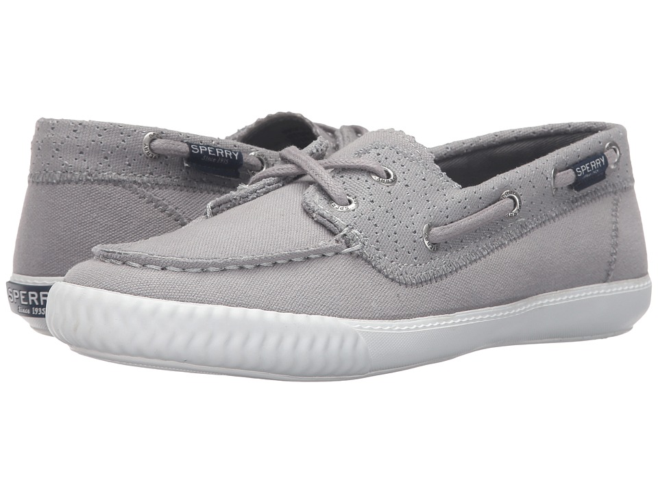 Sperry - Sayel Away Perf Canvas (Grey) Women's Lace Up Moc Toe Shoes