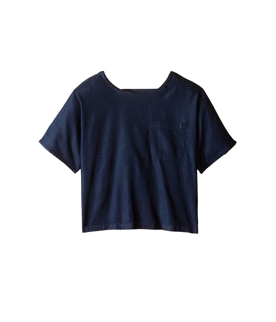 7 For All Mankind Kids - Textured Linen Blend Shortall in Indigo (Big Kids) (Indigo) Girl's Clothing