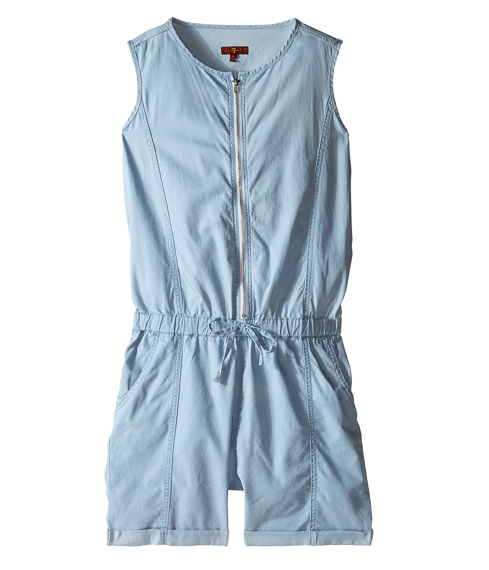 7 For All Mankind Kids - Sleeveless Chambray Zip Front Romper (Bleach) Girl