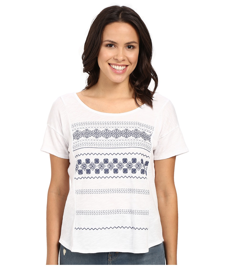 Mavi Jeans - Scoop Back Embroidered Top (White) Women's Short Sleeve Pullover