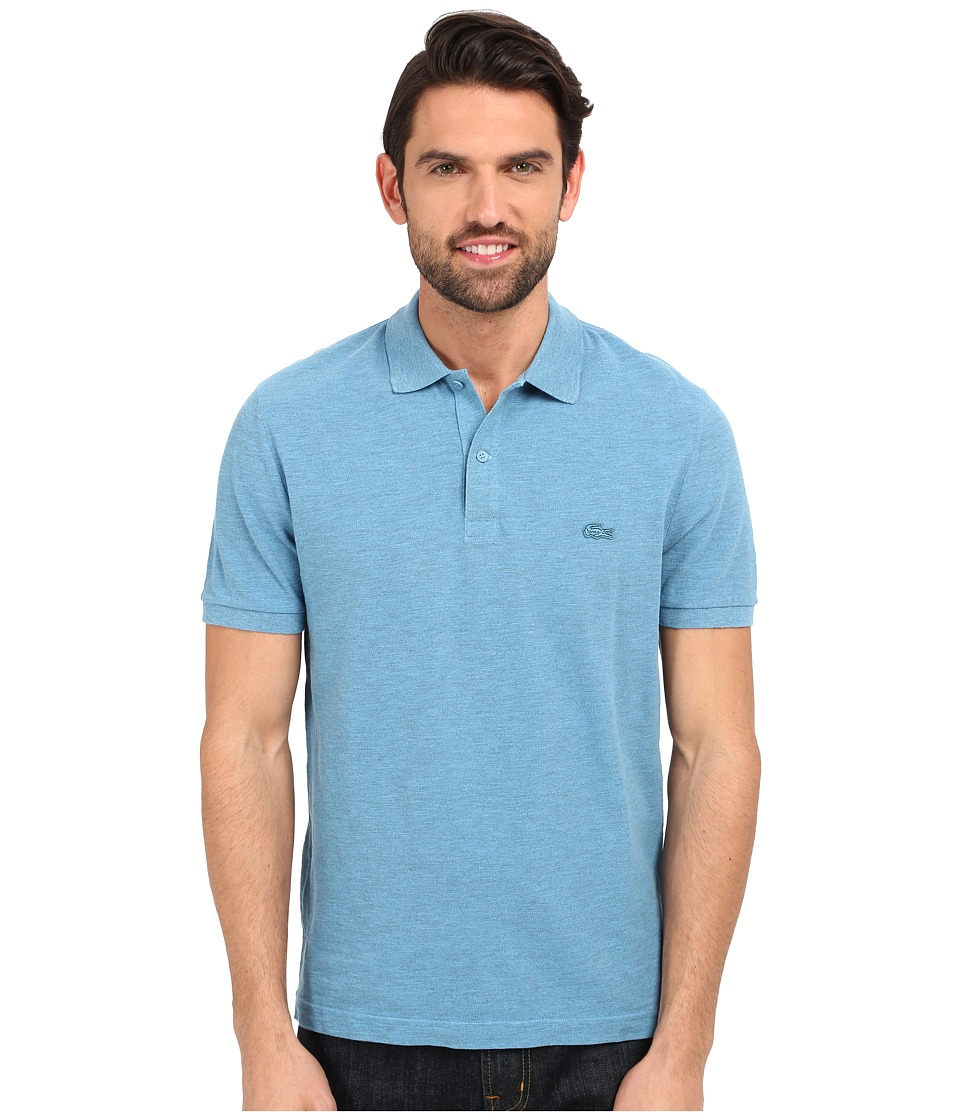 Lacoste - Short Sleeve Garment Dyed Slub Pique Polo Shirt (Spa Blue Dyed) Men's Short Sleeve Pullover