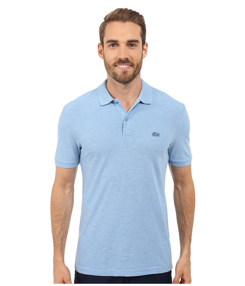 Lacoste - Short Sleeve Garment Dyed Slub Pique Polo Shirt (Nattier Blue Dyed) Men's Short Sleeve Pullover