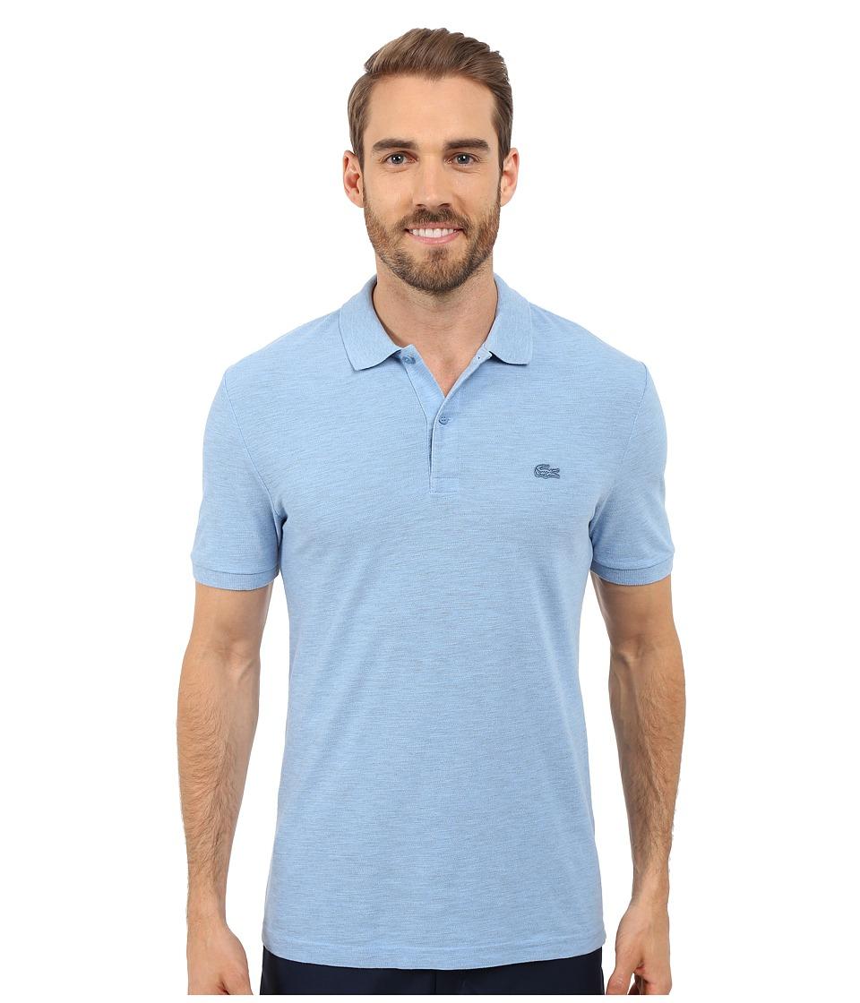 Lacoste - Short Sleeve Garment Dyed Slub Pique Polo Shirt (Nattier Blue Dyed) Men's Short Sleeve Pullover
