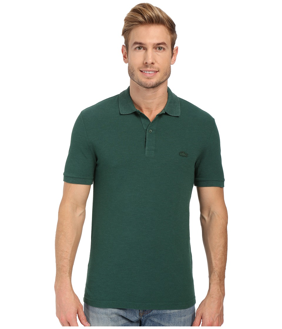 Lacoste - Short Sleeve Garment Dyed Slub Pique Polo Shirt (Pine Wood Dyed) Men's Short Sleeve Pullover