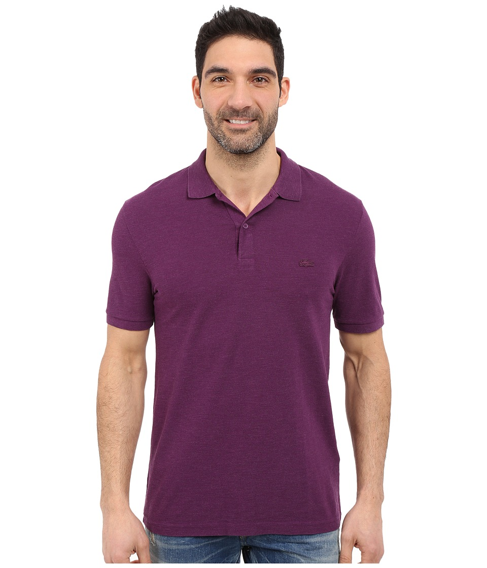 Lacoste - Short Sleeve Garment Dyed Slub Pique Polo Shirt (Boheme Purple Dyed) Men's Short Sleeve Pullover