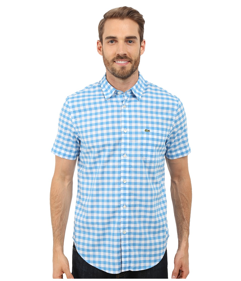 Lacoste - Gingham Poplin Shirt (Spa Blue/White) Men's Clothing
