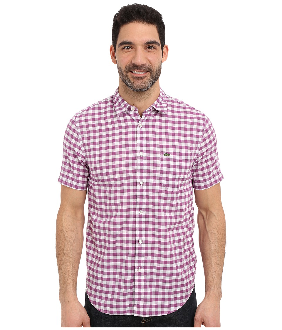 Lacoste - Gingham Poplin Shirt (Vineyard Purple/White) Men's Clothing
