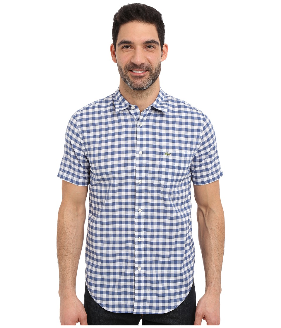 Lacoste - Gingham Poplin Shirt (Iodine/White) Men's Clothing
