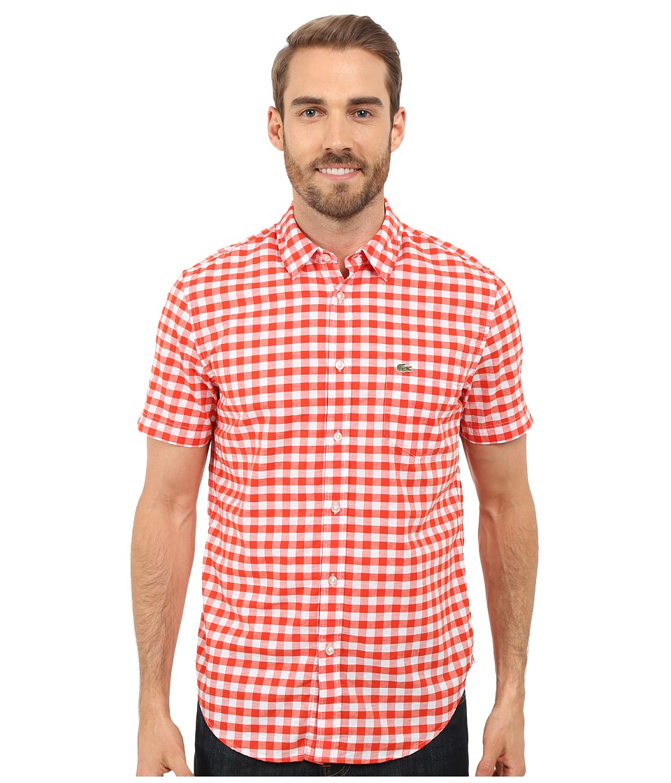 Lacoste - Gingham Poplin Shirt (Etna Red/White) Men's Clothing