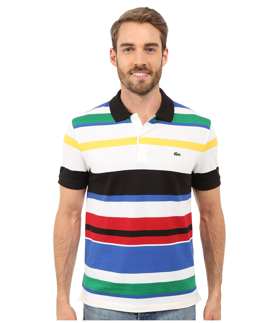 Lacoste - Jersey Piqu Multi-Striped Polo (Black/Multico) Men's Short Sleeve Knit