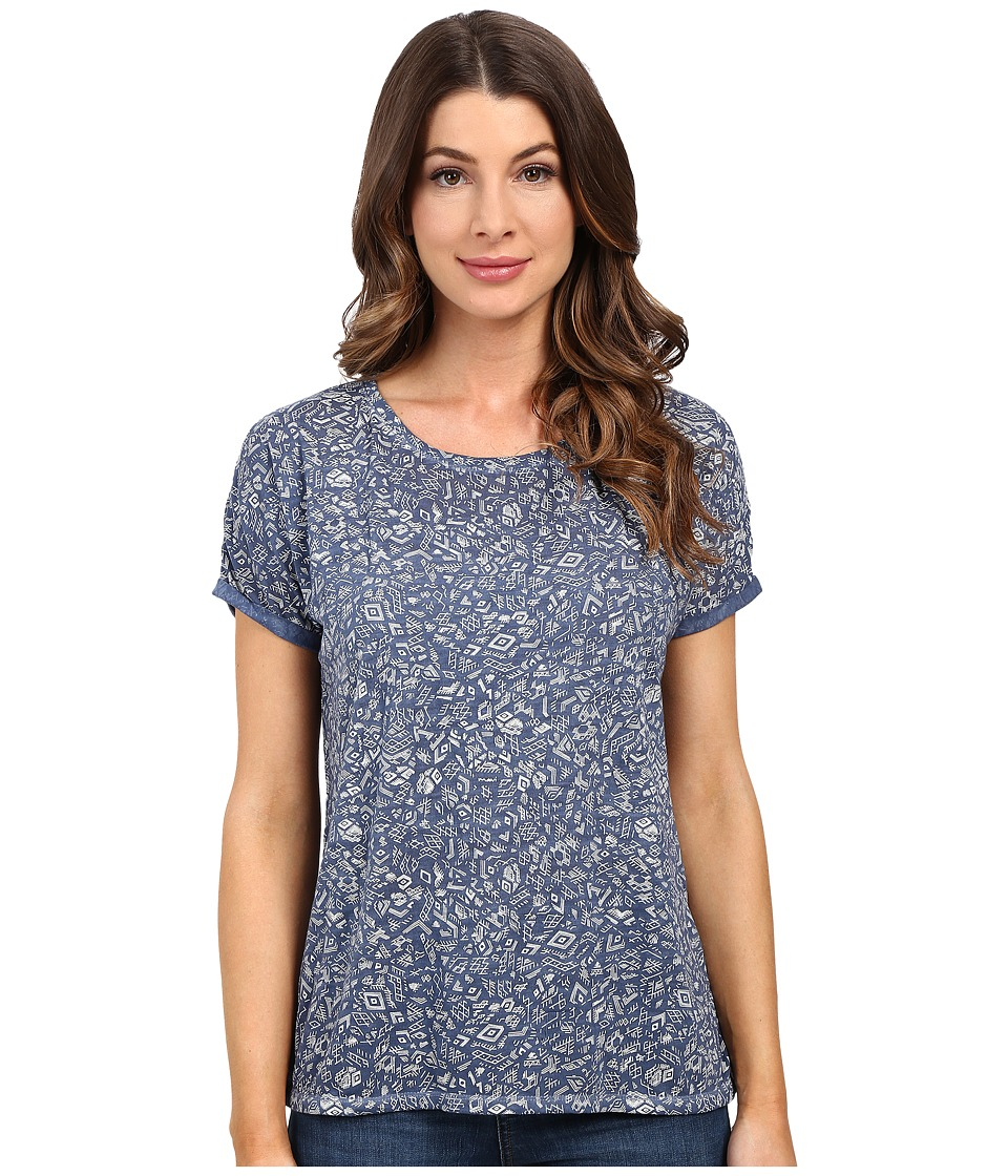 Mavi Jeans - Short Sleeve Top (Dress Blue Printed) Women's Clothing