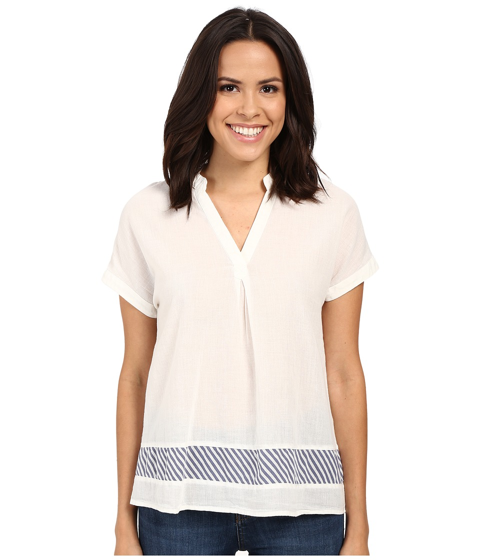 Mavi Jeans - Stripe Detail V-Neck Top (Antique White) Women's Blouse