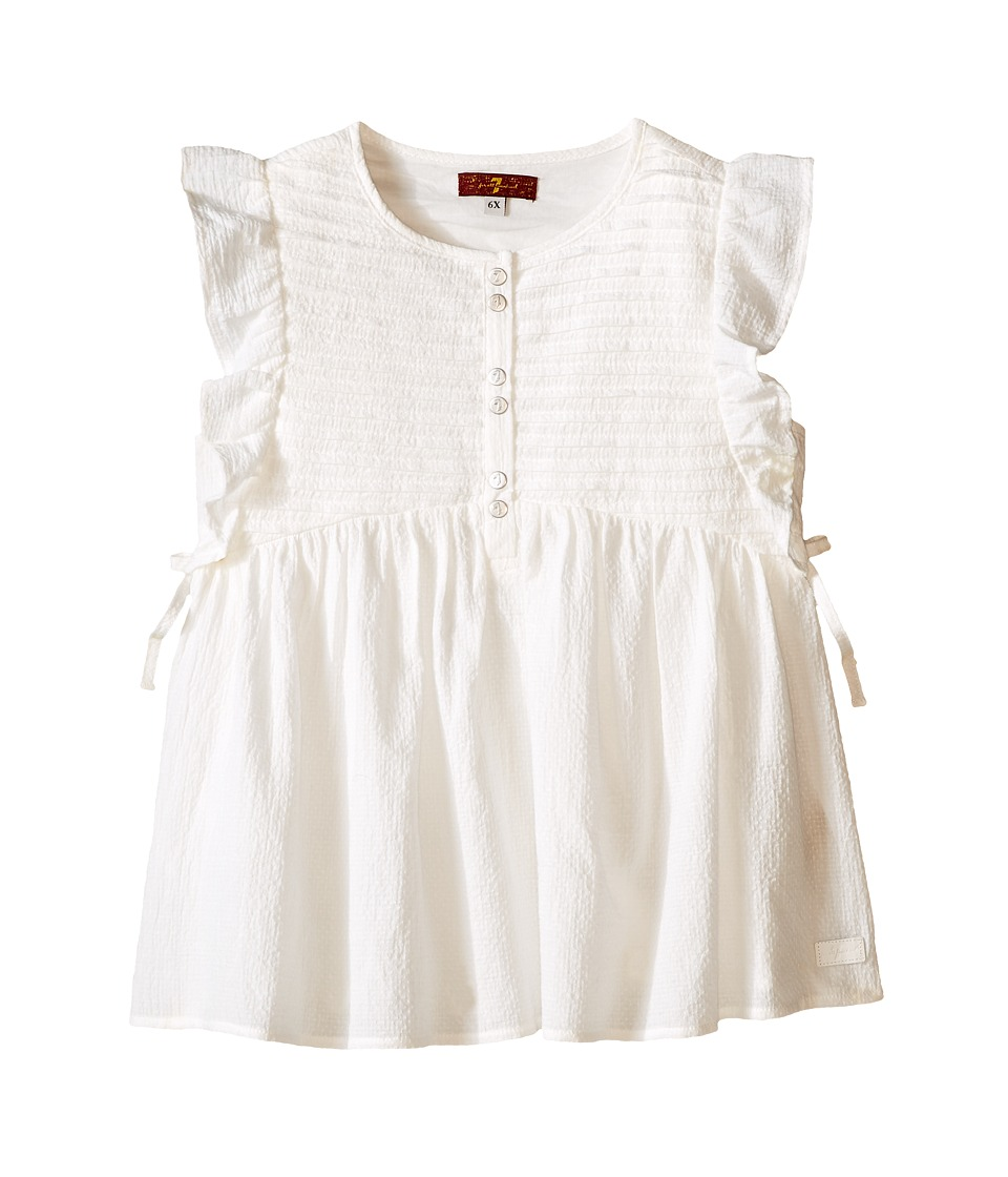 7 For All Mankind Kids - Pintucked Flutter Sleeve Textured Gauze Top (Little Kids) (Bright White) Girl's Dress