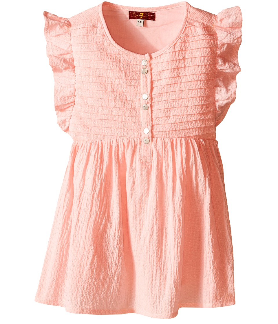 7 For All Mankind Kids - Pintucked Flutter Sleeve Textured Gauze Top (Little Kids) (Coral Blush) Girl's Dress plus size,  plus size fashion plus size appare