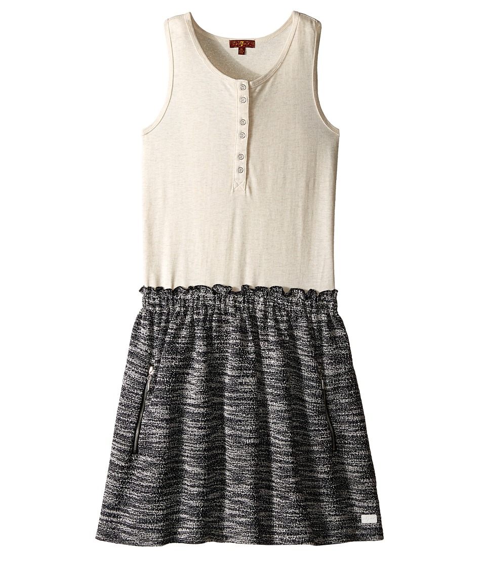 7 For All Mankind Kids - Slub Jersey Henley Tank Dress (Big Kids) (Marshmallow) Girl's Dress