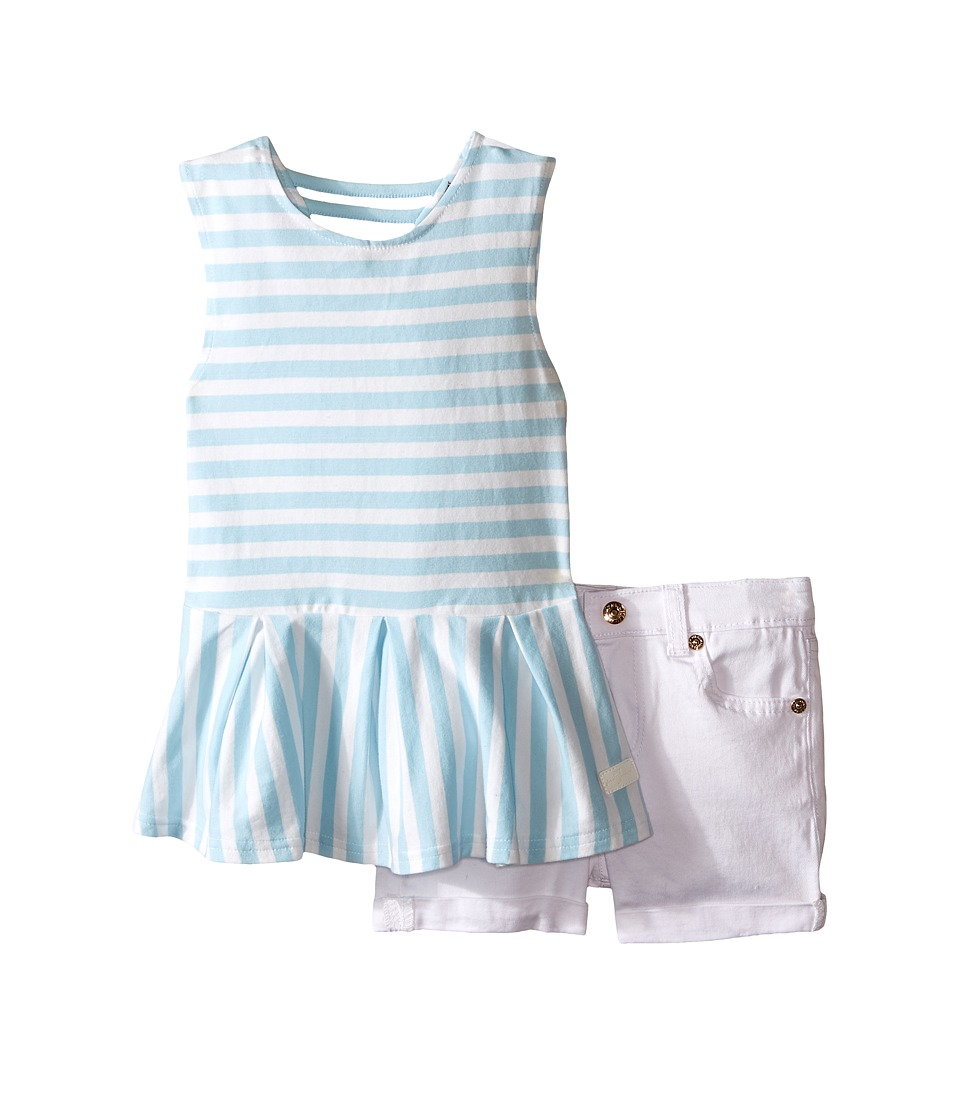 7 For All Mankind Kids - Five-Pocket Medium Roll Stretch Twill Cuff Shorts and Peplum Striped Jersey Tank Top (Toddler) (Dream Blue) Girl's Active Sets