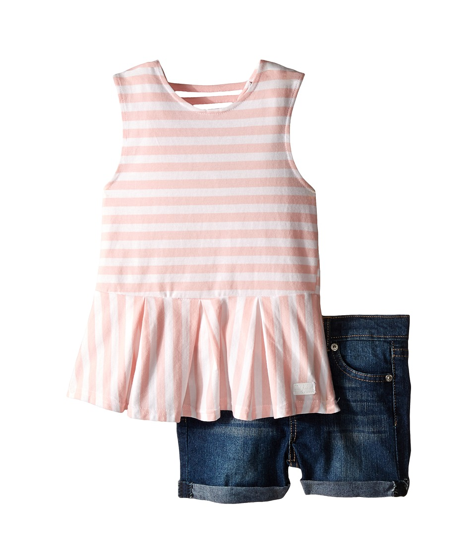 7 For All Mankind Kids - Five-Pocket Medium Roll Stretch Twill Cuff Shorts and Peplum Striped Jersey Tank Top (Toddler) (Coral Blush) Girl's Active Sets