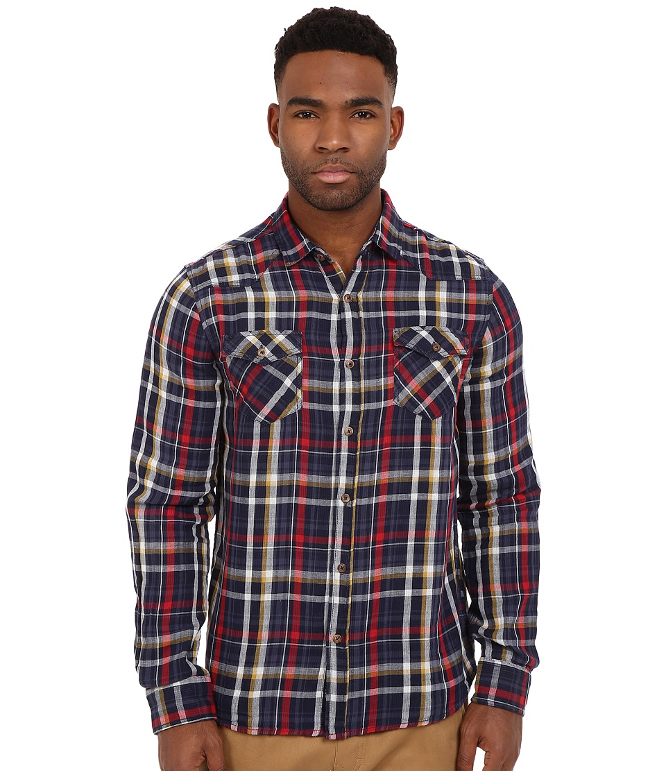 Mavi Jeans - Lined Checked Button Down (Blue Checked) Men's Long Sleeve Button Up