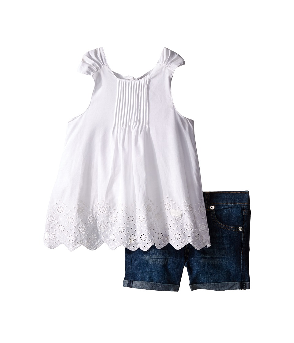 7 For All Mankind Kids - Five-Pocket Medium Roll Stretch Denim Cuff Shorts and Eyelet Scalloped Poplin Tank Top (Toddler) (Bright White) Girl's Active Sets