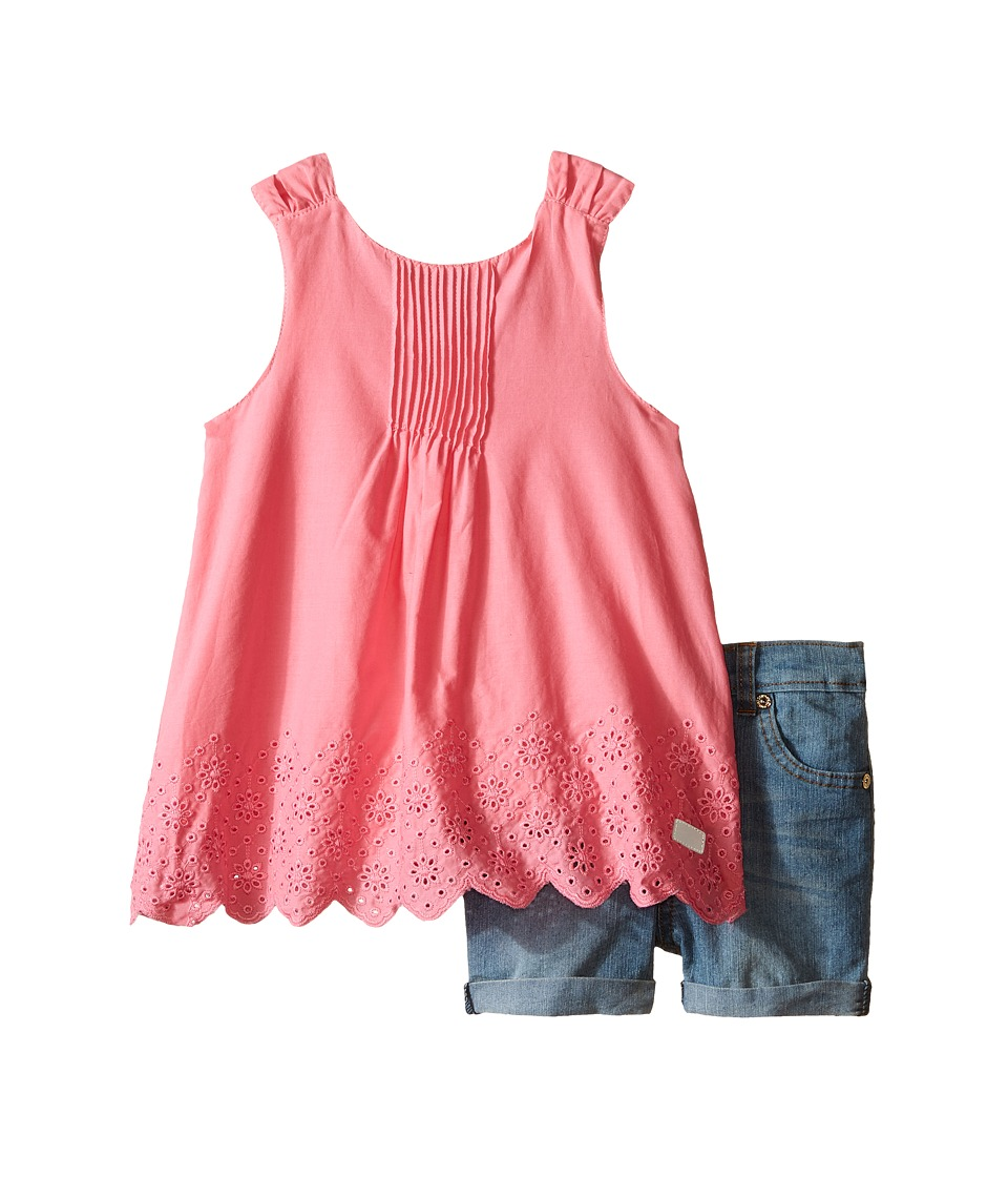 7 For All Mankind Kids - Five-Pocket Medium Roll Stretch Denim Cuff Shorts and Eyelet Scalloped Poplin Tank Top (Toddler) (Wild Rose) Girl's Active Sets
