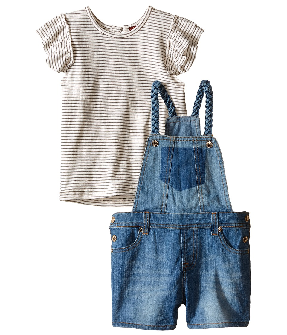 7 For All Mankind Kids - Four-Pocket Stretch Denim Shortall and Flutter Sleeve Reverse Jersey Top (Toddler) (Grey Stripe) Girl's Active Sets