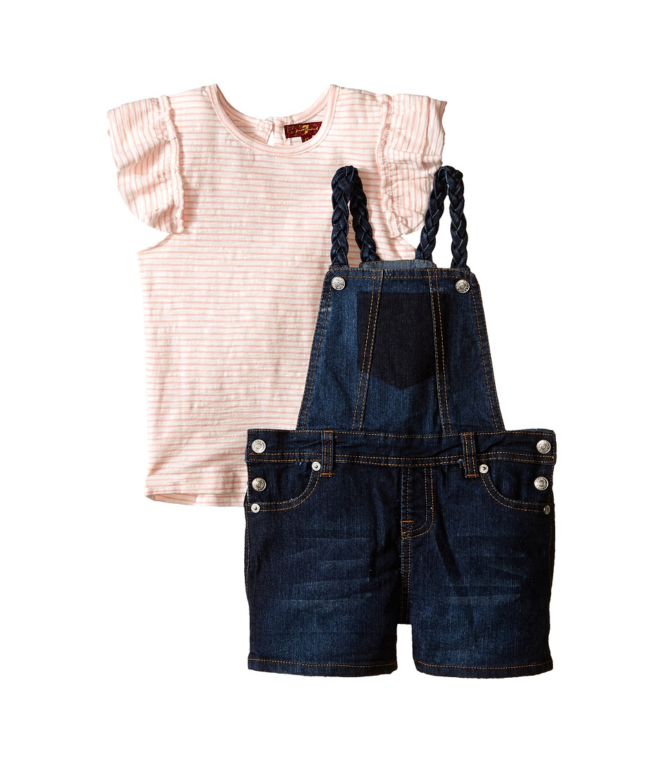 7 For All Mankind Kids - Four-Pocket Stretch Denim Shortall and Flutter Sleeve Reverse Jersey Top (Toddler) (Wild Rose Stripe) Girl's Active Sets