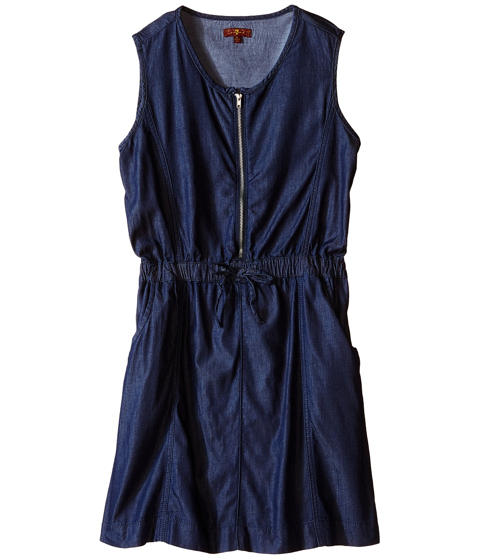 7 For All Mankind Kids - Two-Pocket Sleeveless Chambray 1/2 Zip Dress (Big Kids) (Indigo) Girl's Dress
