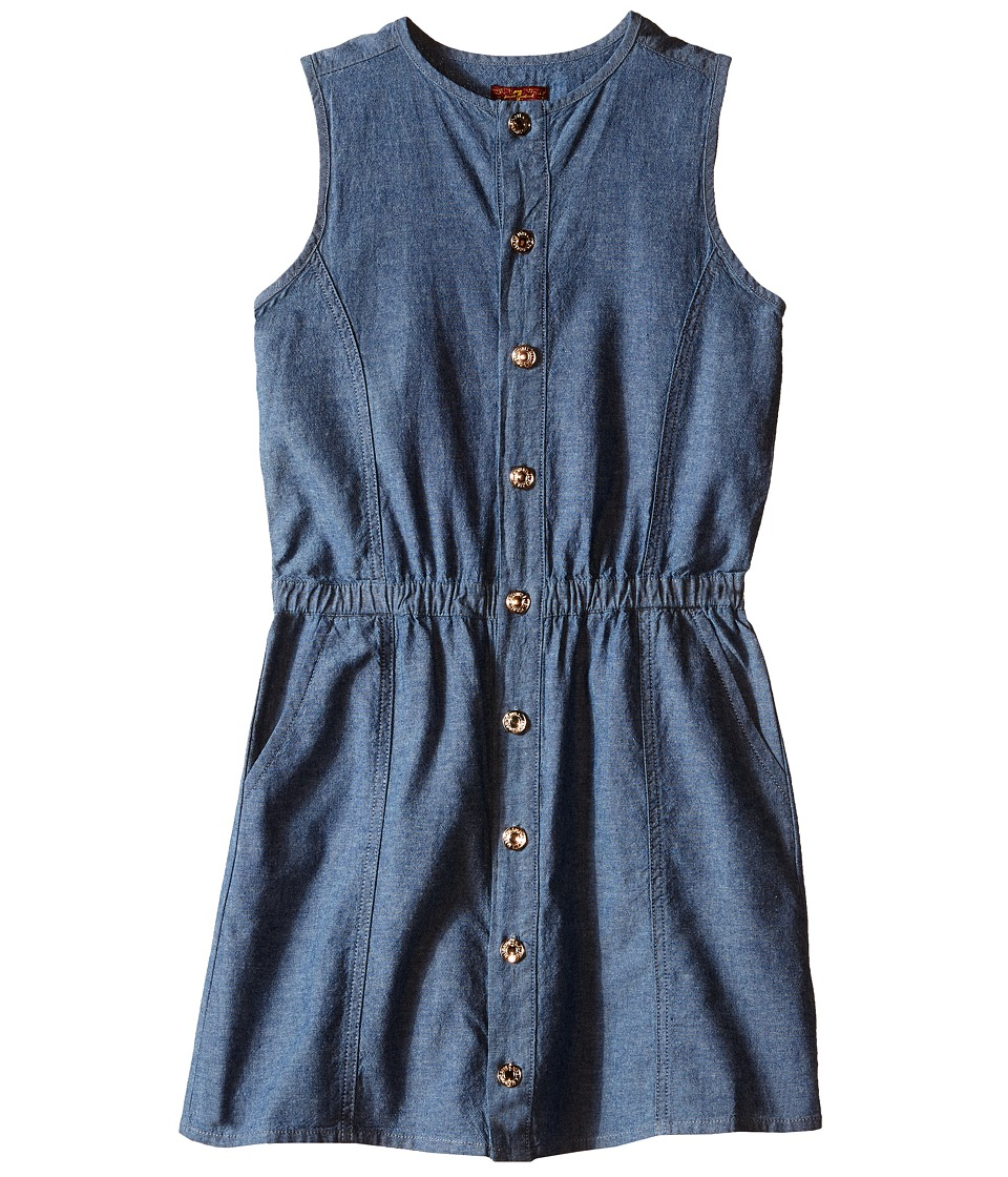 7 For All Mankind Kids - Two-Pocket Sleeveless Chambray Button Front Dress (Big Kids) (Light Wash) Girl's Dress