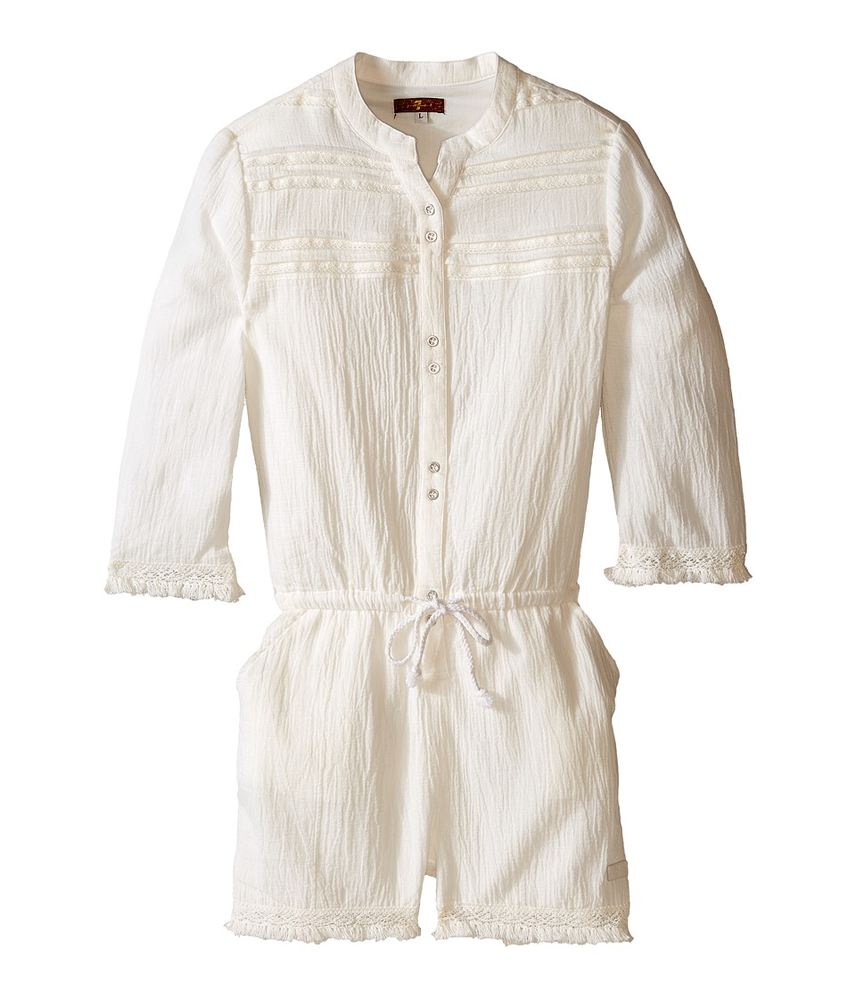 7 For All Mankind Kids - 3/4 Sleeve V-Neck Crinkle Gauze Button Down Romper (Big Kids) (Bright White) Girl's Jumpsuit & Rompers One Piece