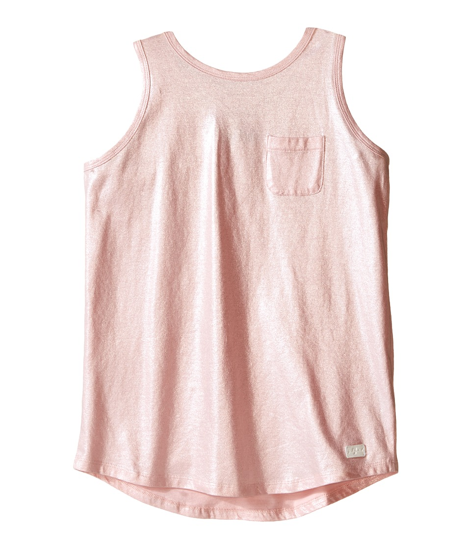 7 For All Mankind Kids - Metallic Slub Jersey Henley Crisscross Back Tank Top (Big Kids) (Coral Blush) Girl's Sleeveless