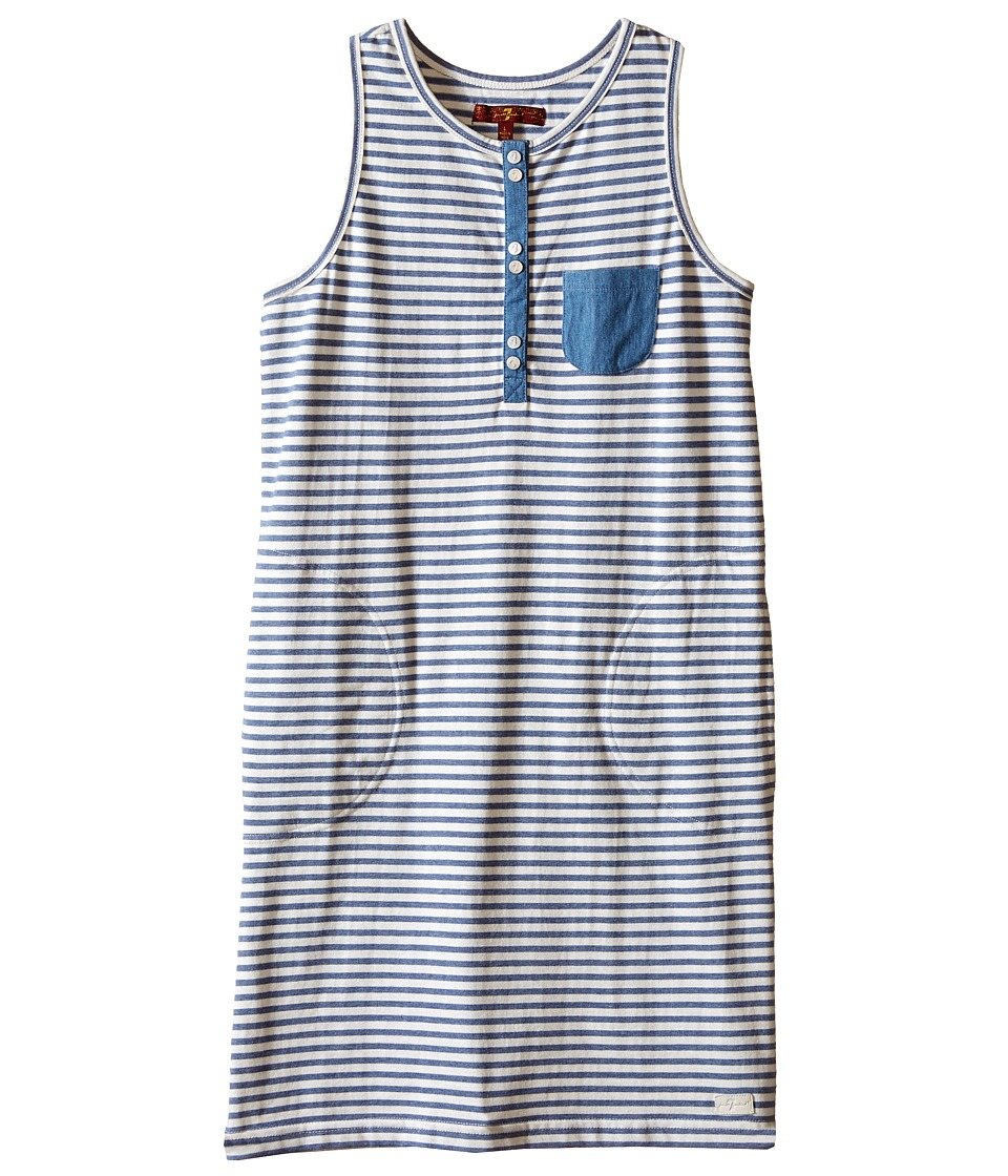 7 For All Mankind Kids - Slub Jersey Henley Tank Dress with Chambray (Big Kids) (Navy Stripe) Girl's Dress