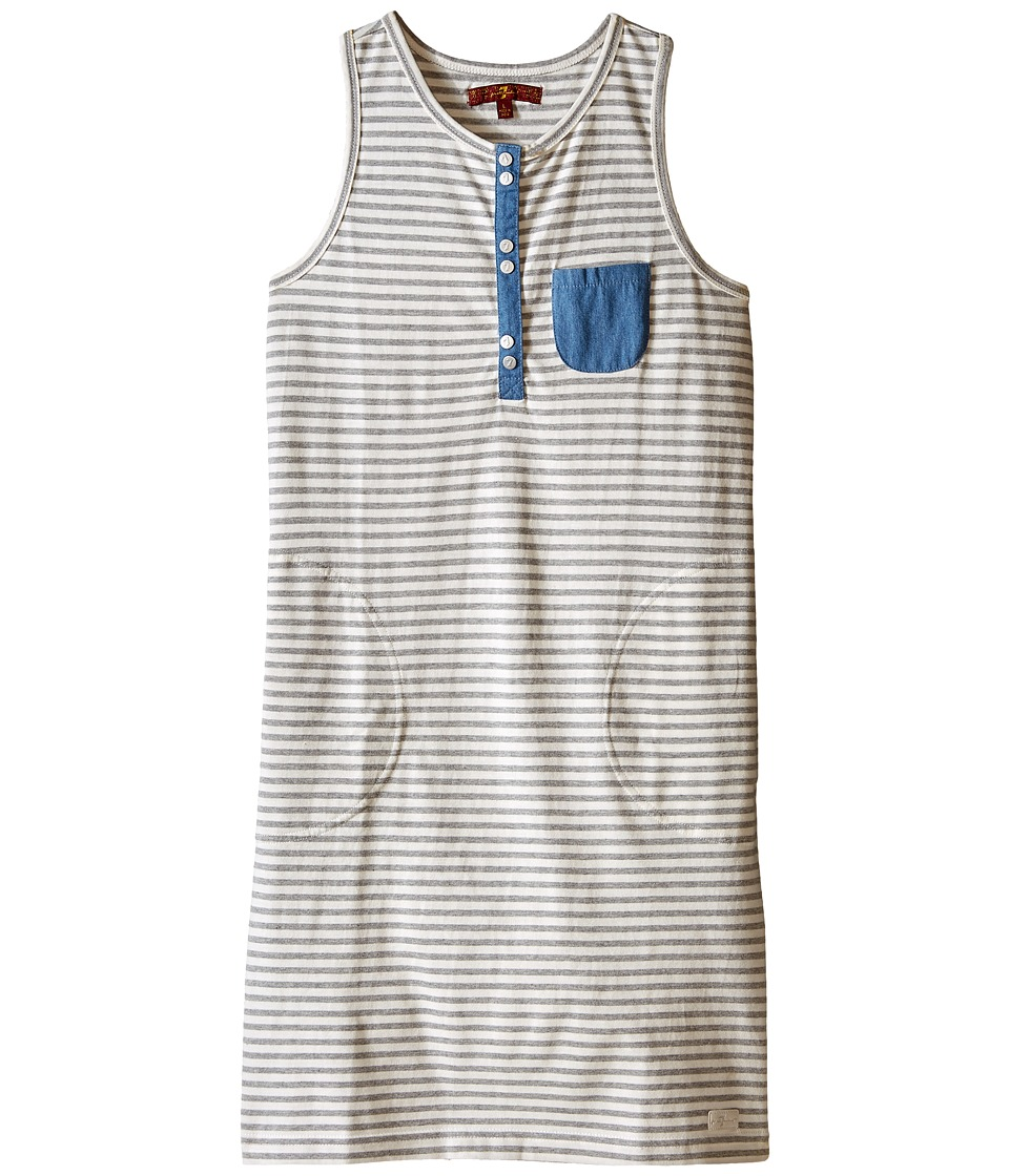 7 For All Mankind Kids - Slub Jersey Henley Tank Dress with Chambray (Big Kids) (Grey Stripe) Girl's Dress