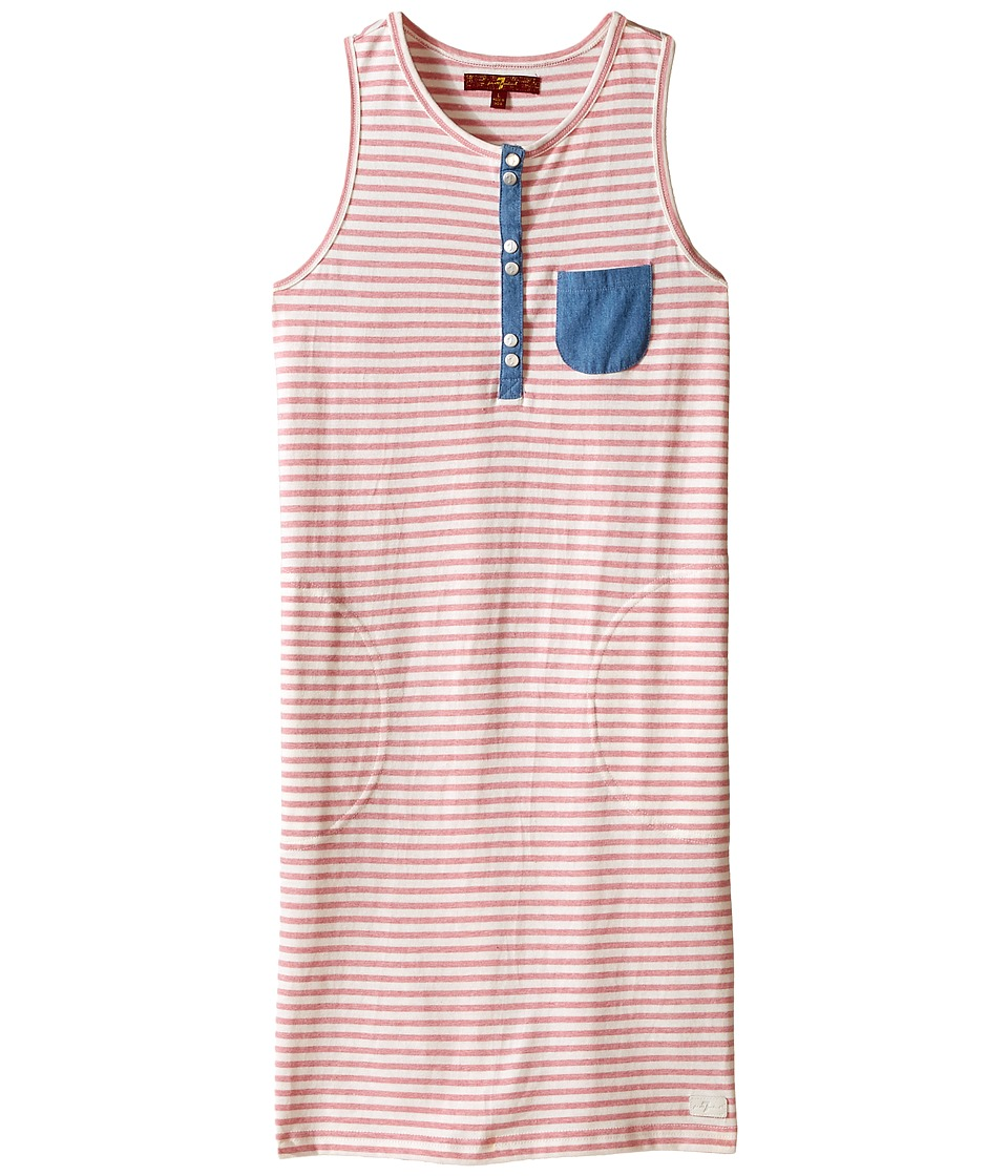 7 For All Mankind Kids - Slub Jersey Henley Tank Dress with Chambray (Big Kids) (Wild Rose Stripe) Girl's Dress