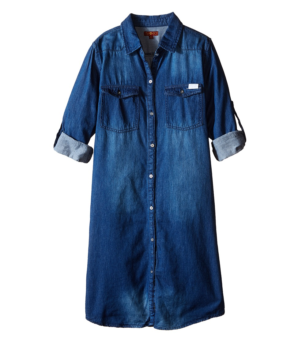 7 For All Mankind Kids - Collared Denim Roll Tab Sleeve Shirtdress (Big Kids) (Medium Vintage) Girl's Dress