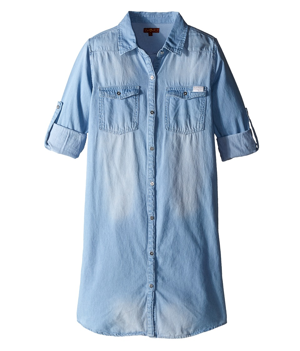 7 For All Mankind Kids - Collared Denim Roll Tab Sleeve Shirtdress (Big Kids) (Light Vintage) Girl's Dress