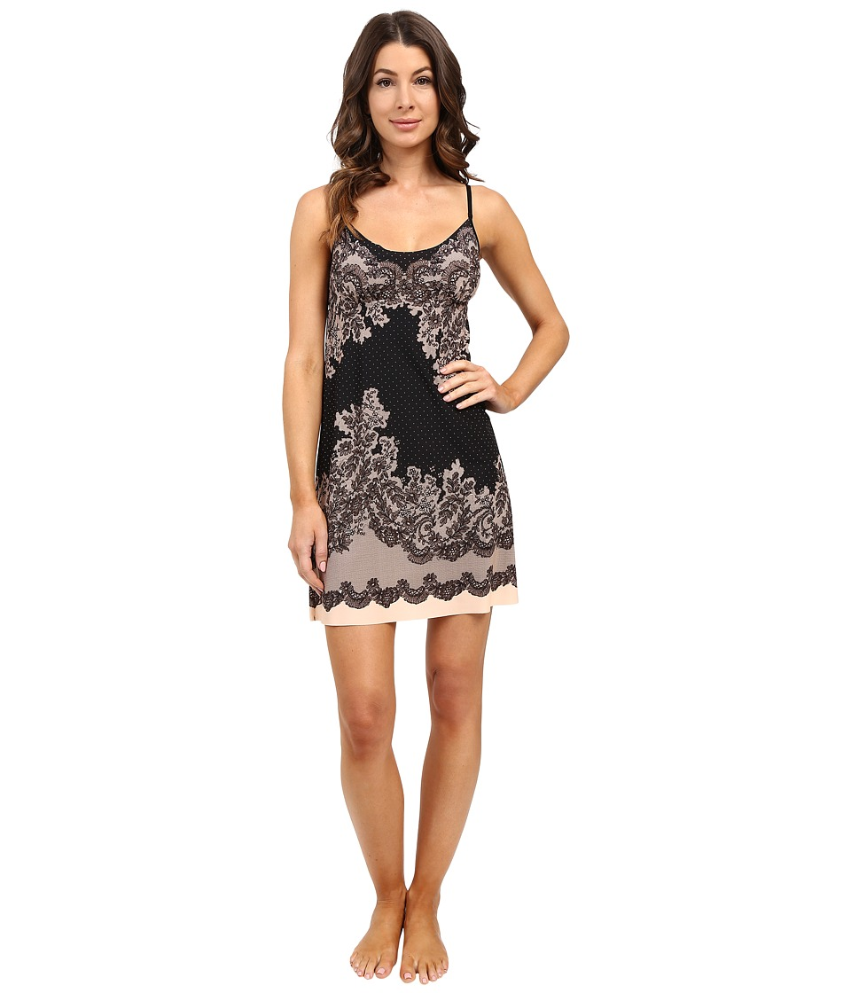 Commando - Engineered Print Chemise SL208 (Antique Lace Black) Women's Underwear